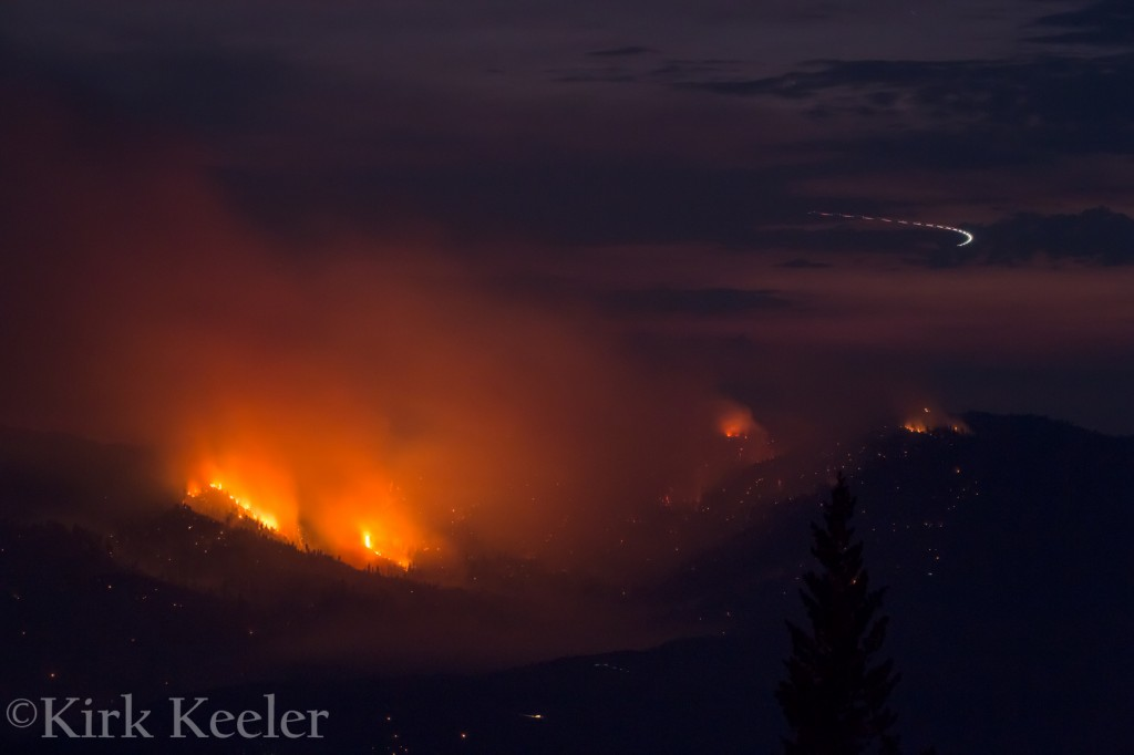 Close-up of El Portal Fire, July 30th, 9:13pm