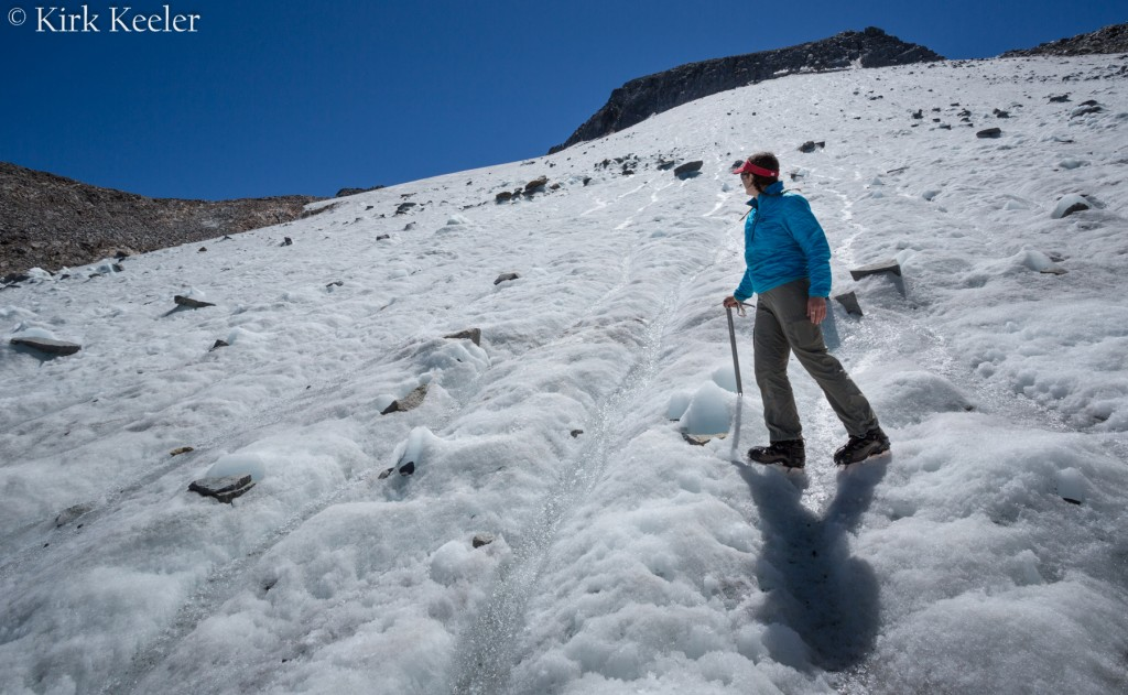 Shauna looks above her at the expanse of the once-active Lyell Glacier
