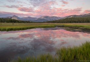 Sunset Clouds Reflected in Pond, Tuolumne Meadows