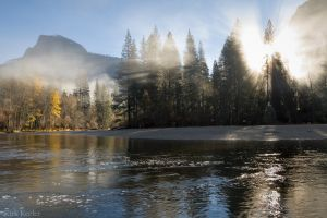 Sunlight Through Fog, Half Dome, Merced River
