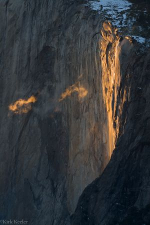 Horsetail Fall %26 Clouds, El Capitan,
