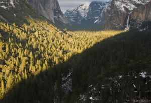 Light Beam Pointing to Bridaveil Fall, Tunnel View
